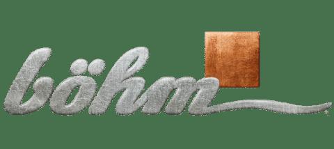 Logo böhm graue kursive Schrift und braunes Viereck