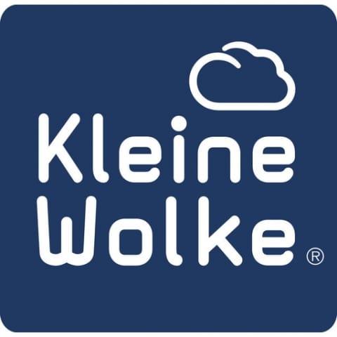 Logo blauer Hintergrund weiße Schrift und kleine Wolke