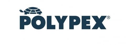 Polypex Logo dunkelblaue Schrift links oben Schildkröte