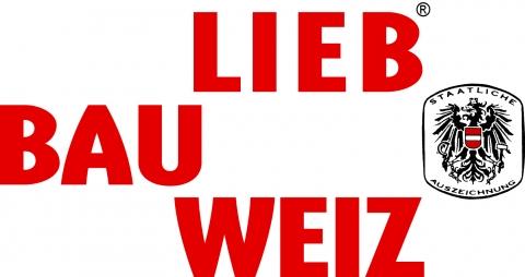 Logo Liebbauweiz rote Schrift weißer Hintergrund