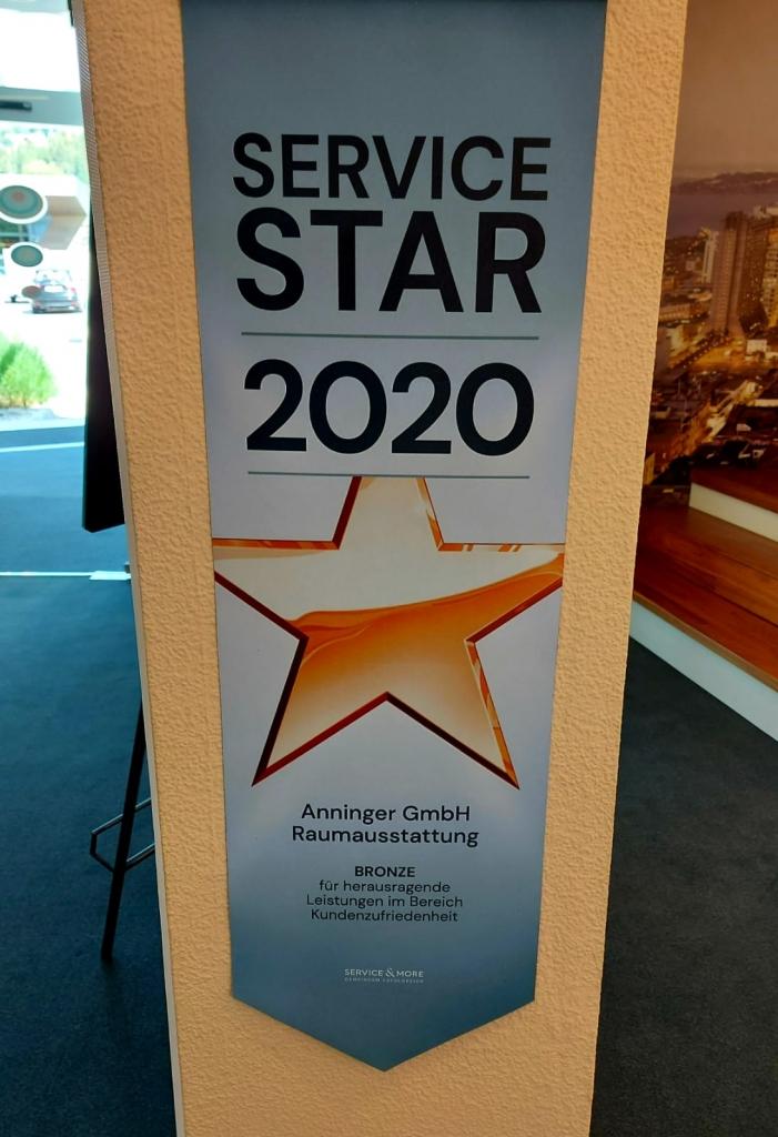 Wandplakat Service Star Gewinner 2020